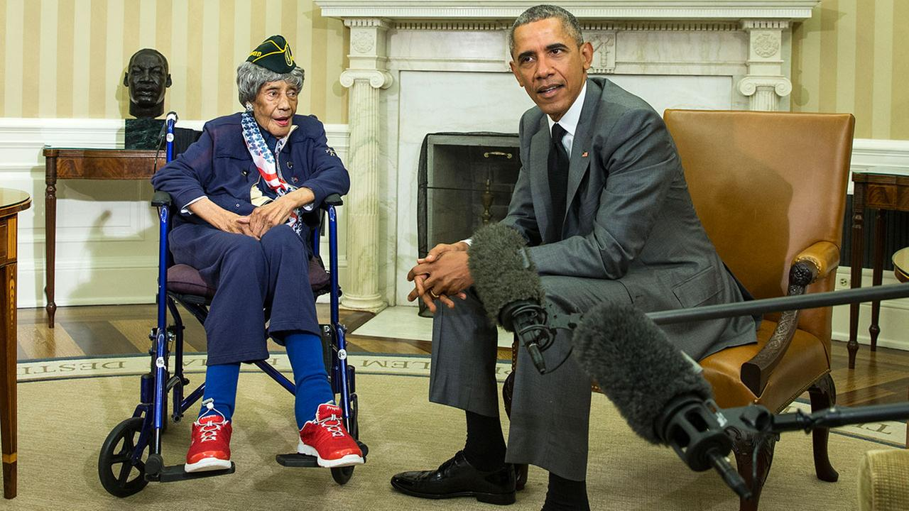 Emma Didlake, the oldest known World War II veteran, died on Sunday, Aug. 16, 2015, at the age of 110.AP Photo/Evan Vucci