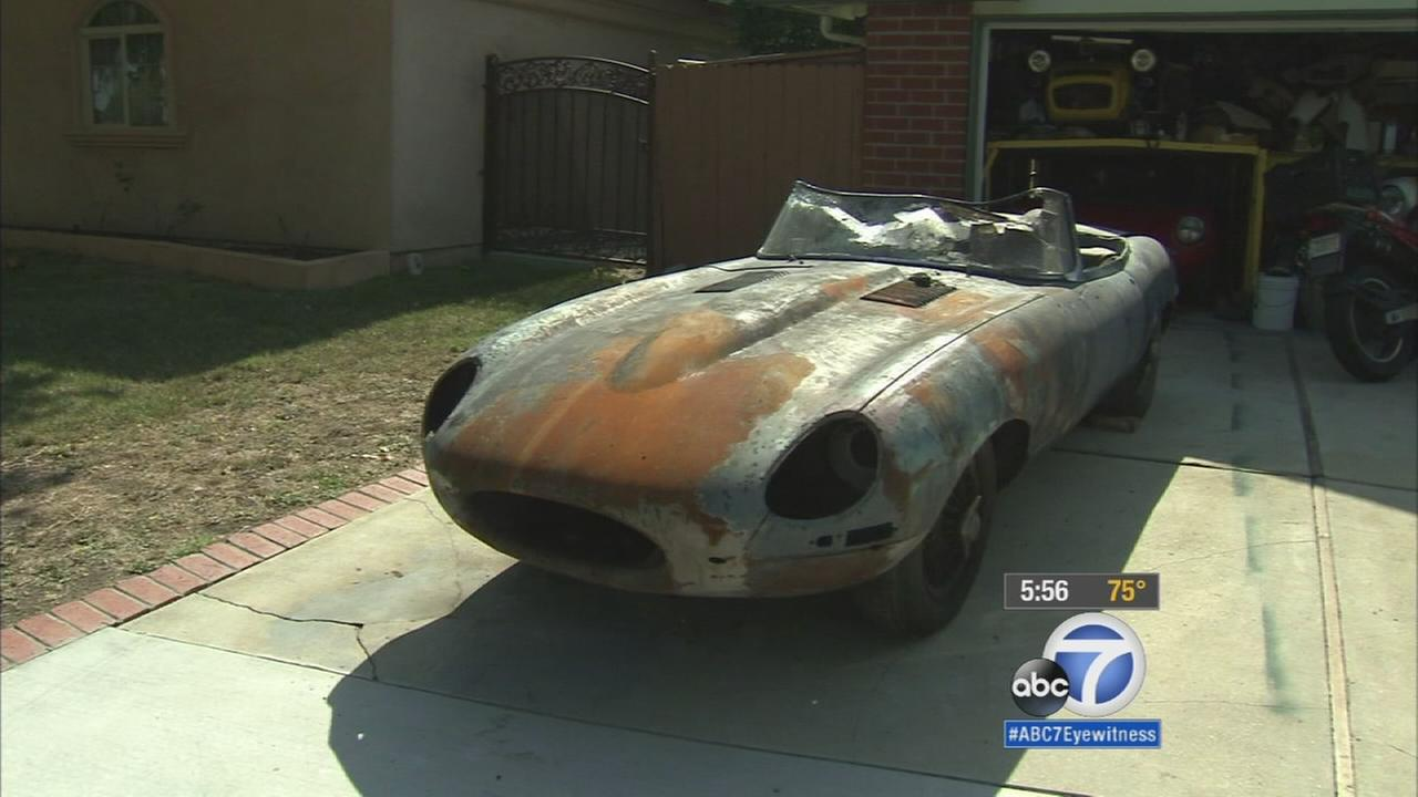 Malcom Croxtons 1962 Jaguar E-Type was nearly charred by the North Fire in the Cajon Pass in July.