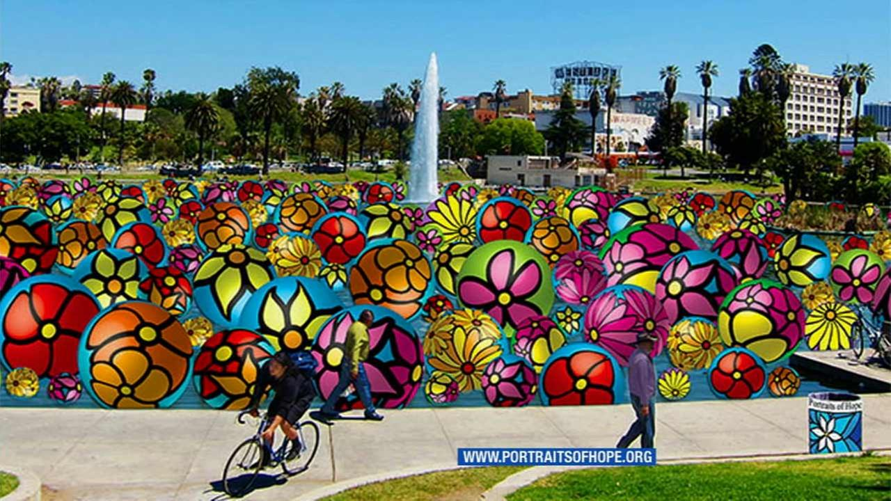Thousands of hand-painted inflatable spheres will be launched into the lake at MacArthur Park in the 2200 block of W. Sixth Street in the Westlake District of Los Angeles.