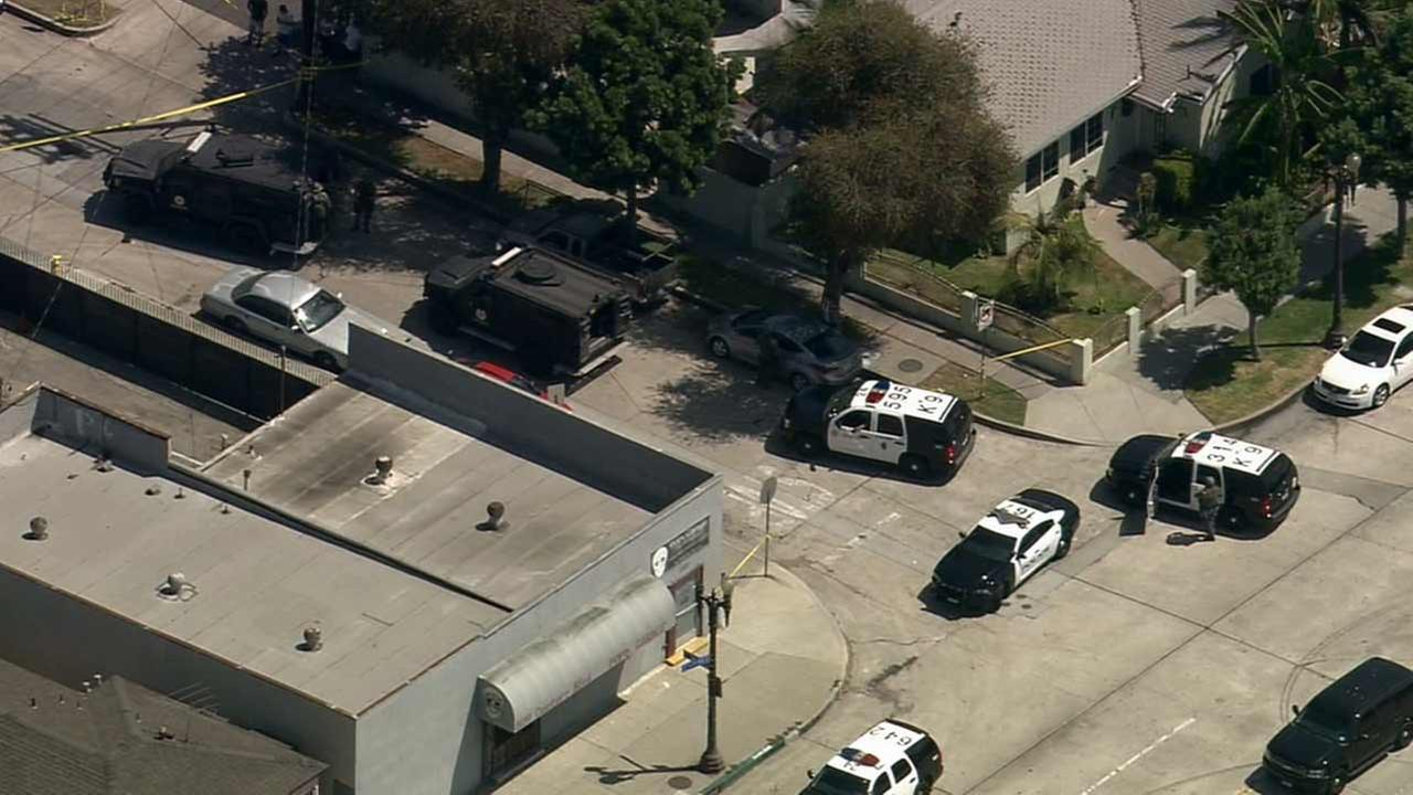 An armed carjacking suspect barricaded himself inside a home in the 10600 block of Capistrano Avenue in South Gate on Monday, Aug. 24, 2015.