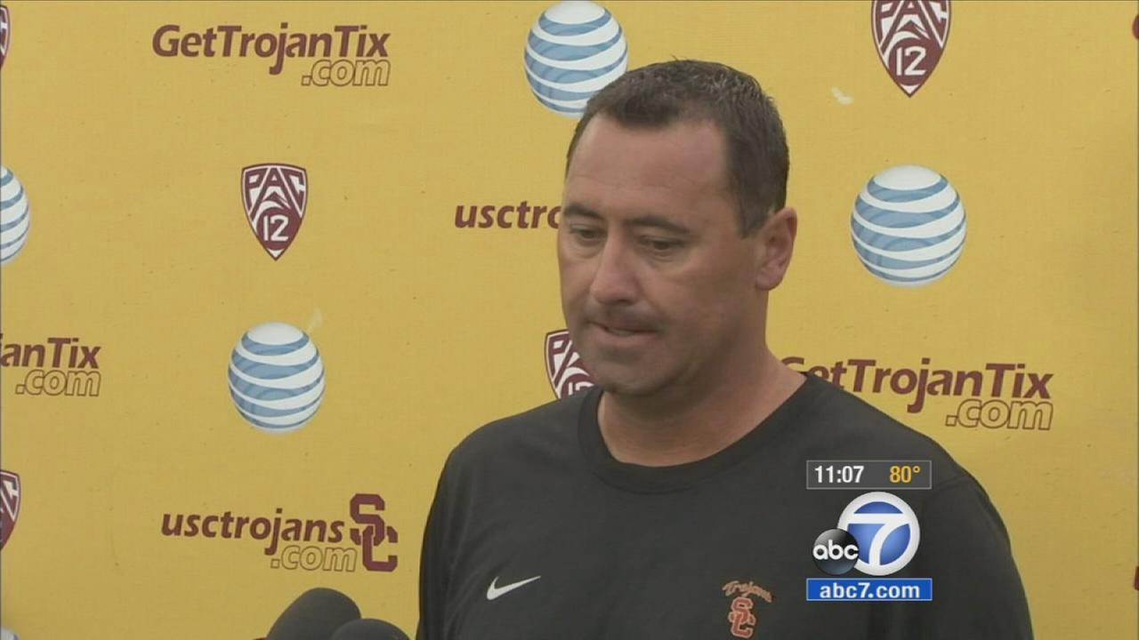 Southern California NCAA college football coach Steve Sarkisian speaks to media before football practice, in Los Angeles, Tuesday, Aug. 25, 2015.