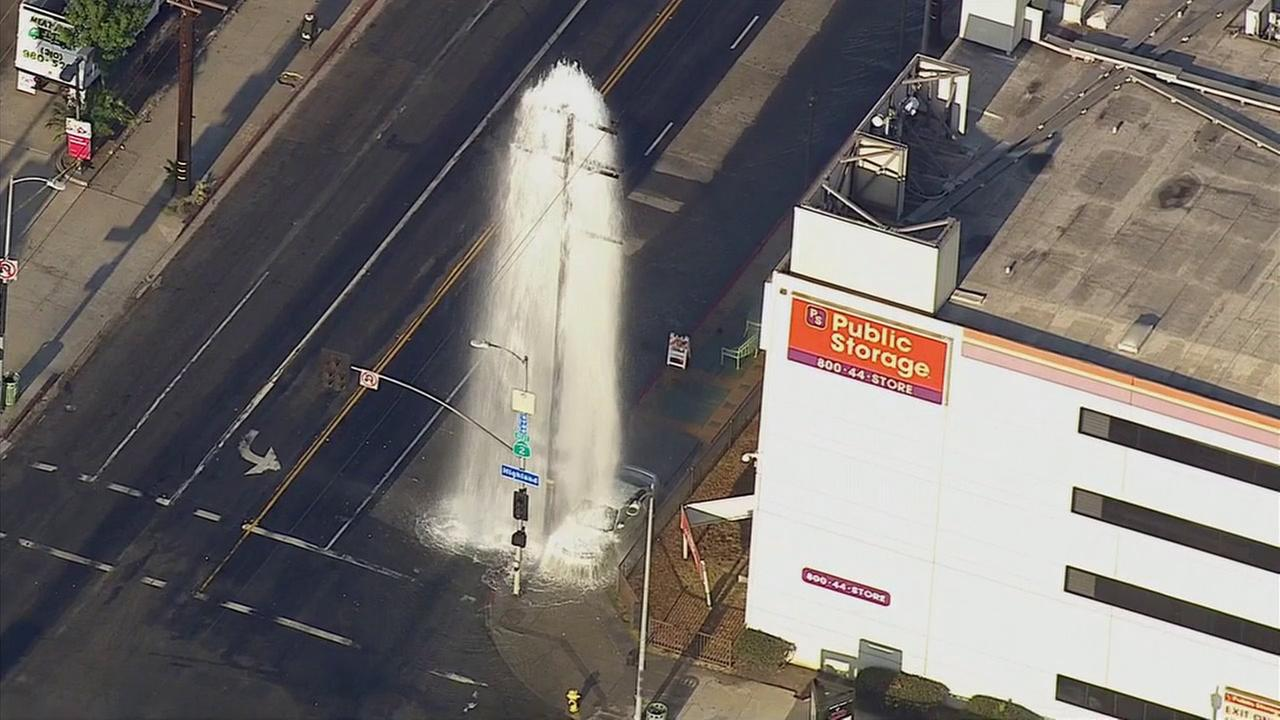 A vehicle sheared a fire hydrant in the 6700 block of Santa Monica Boulevard in Hollywood on Thursday, Aug. 27, 2015.
