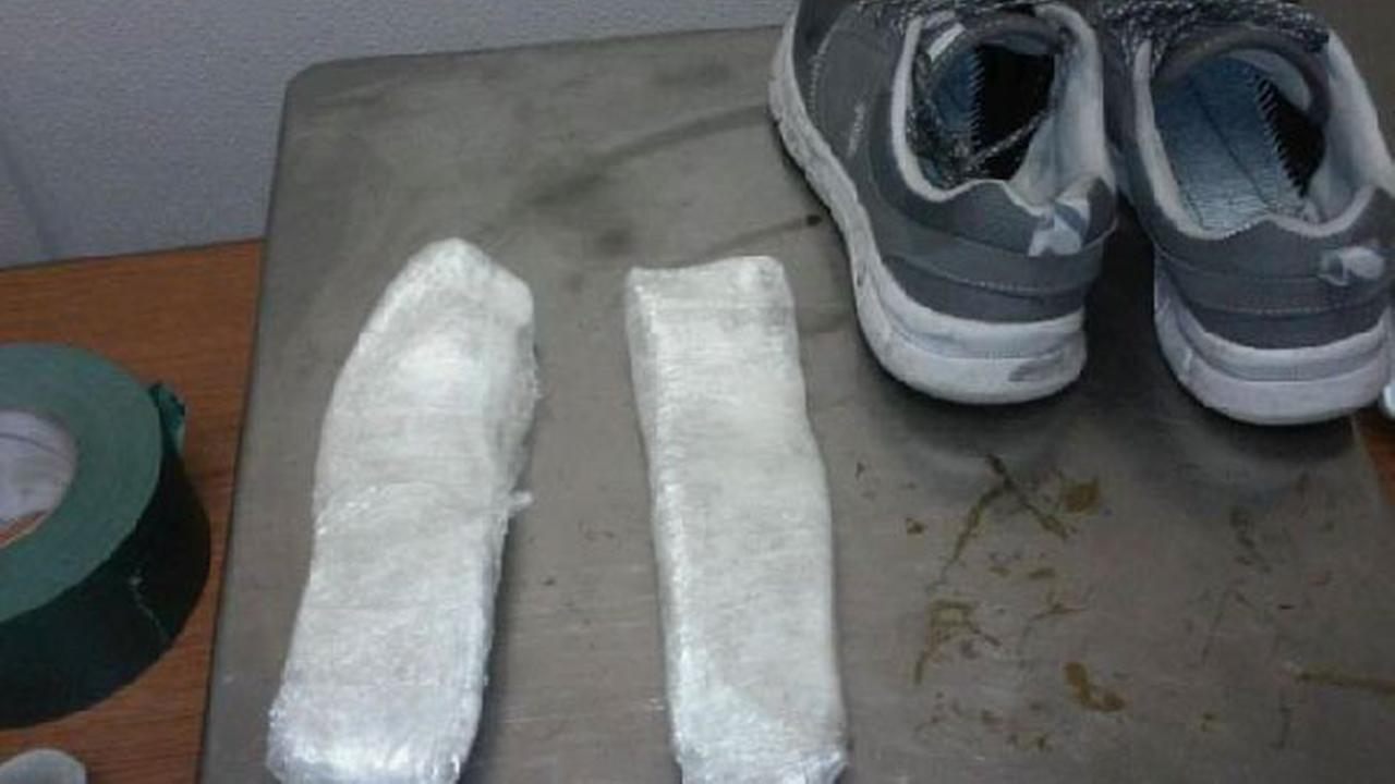 Border Patrol agents arrested a man who was caught with packages of heroin inside his shoes Wednesday, Aug. 26, 2015.