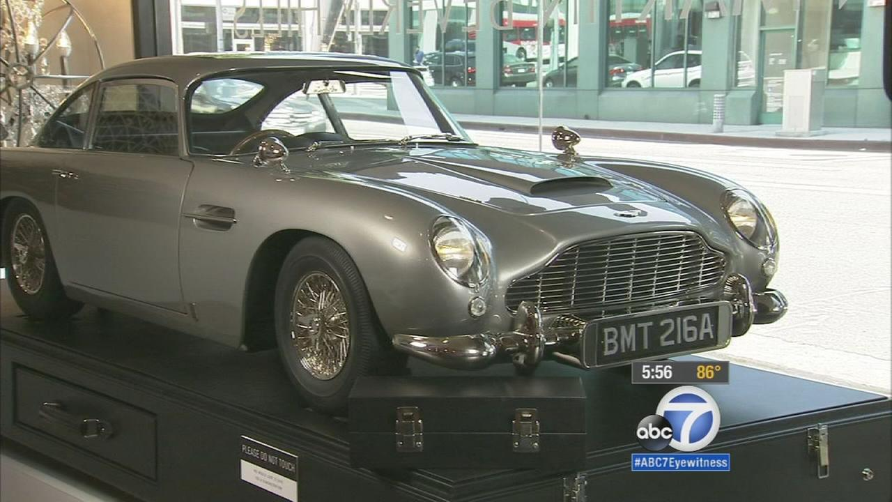 A replica of James Bonds Goldfinger Aston Martin is currently on display in the showroom of a Beverly Hills dealership.