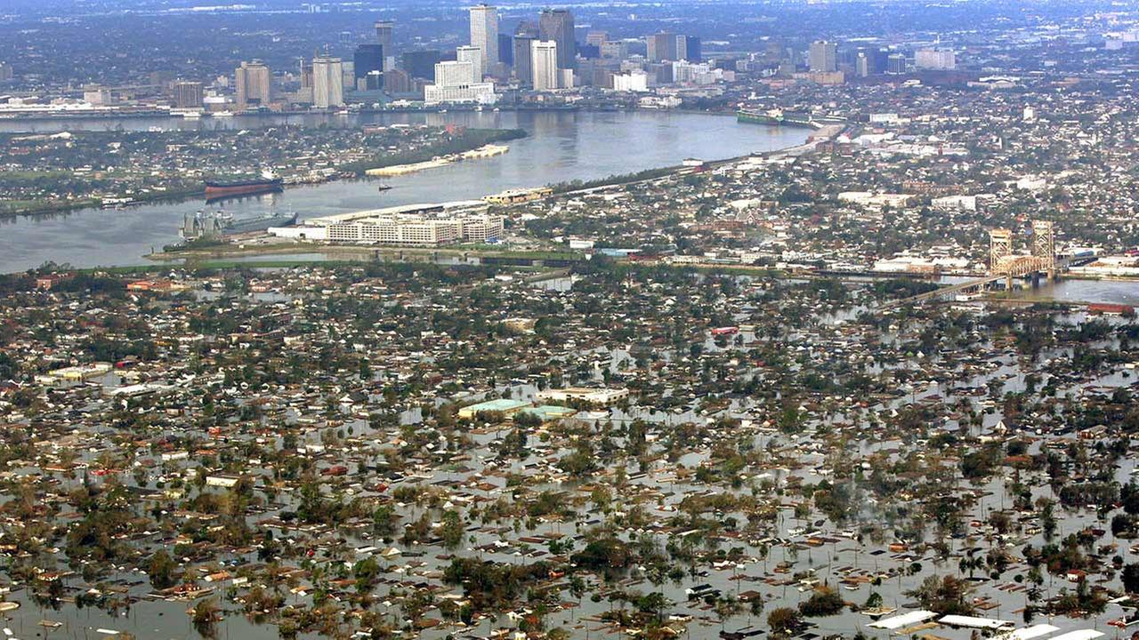 Floodwaters from Hurricane Katrina cover a portion of New Orleans, Louisiana Tuesday, Aug. 30, 2005, a day after Katrina passed through the city.