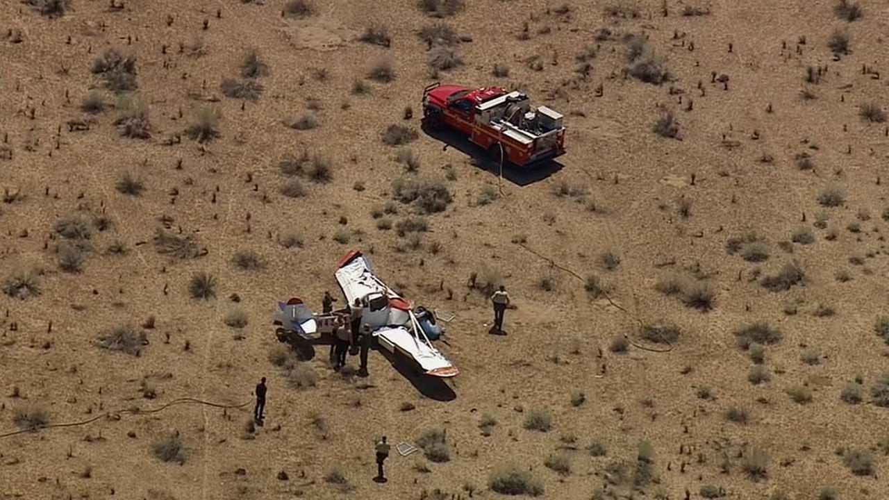 A small plane crashed at Pearblossom Highway and 165th East north of Llano in Los Angeles County on Thursday, Aug. 27, 2015.