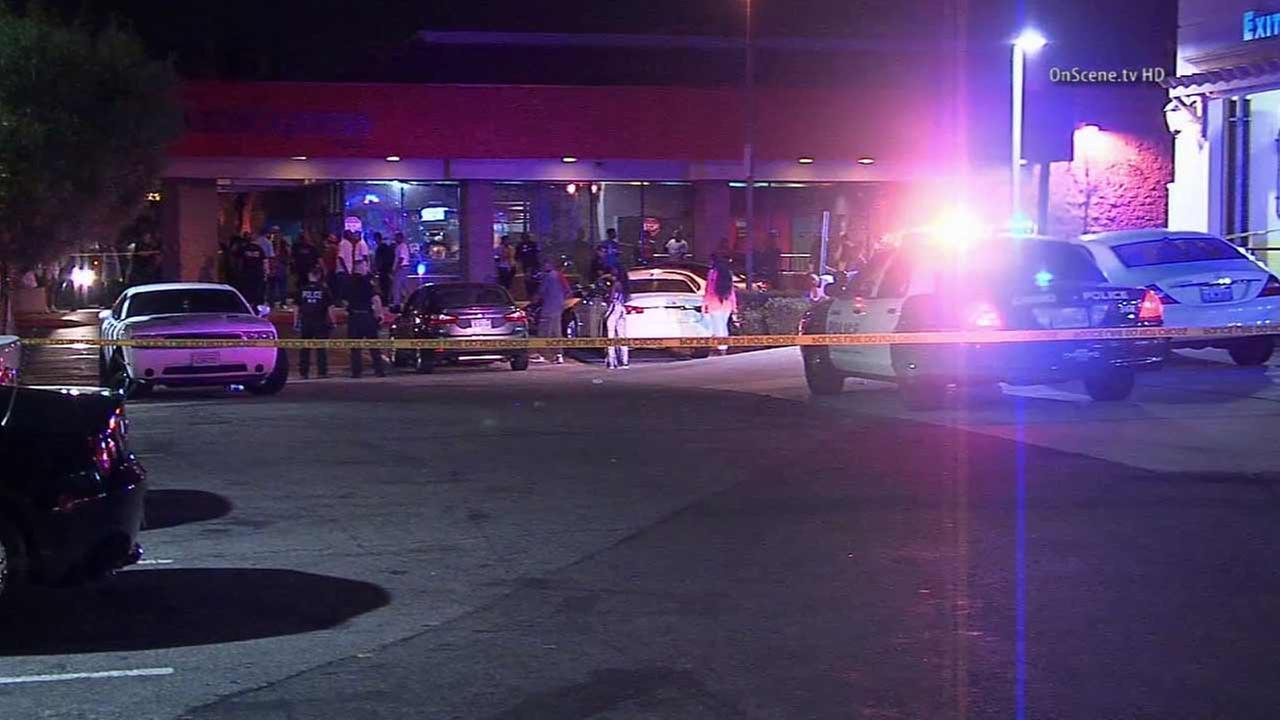 Police respond to a shooting in the parking lot of Skate Express in the 12300 block of Central Avenue in Chino on Monday, Aug. 31, 2015.