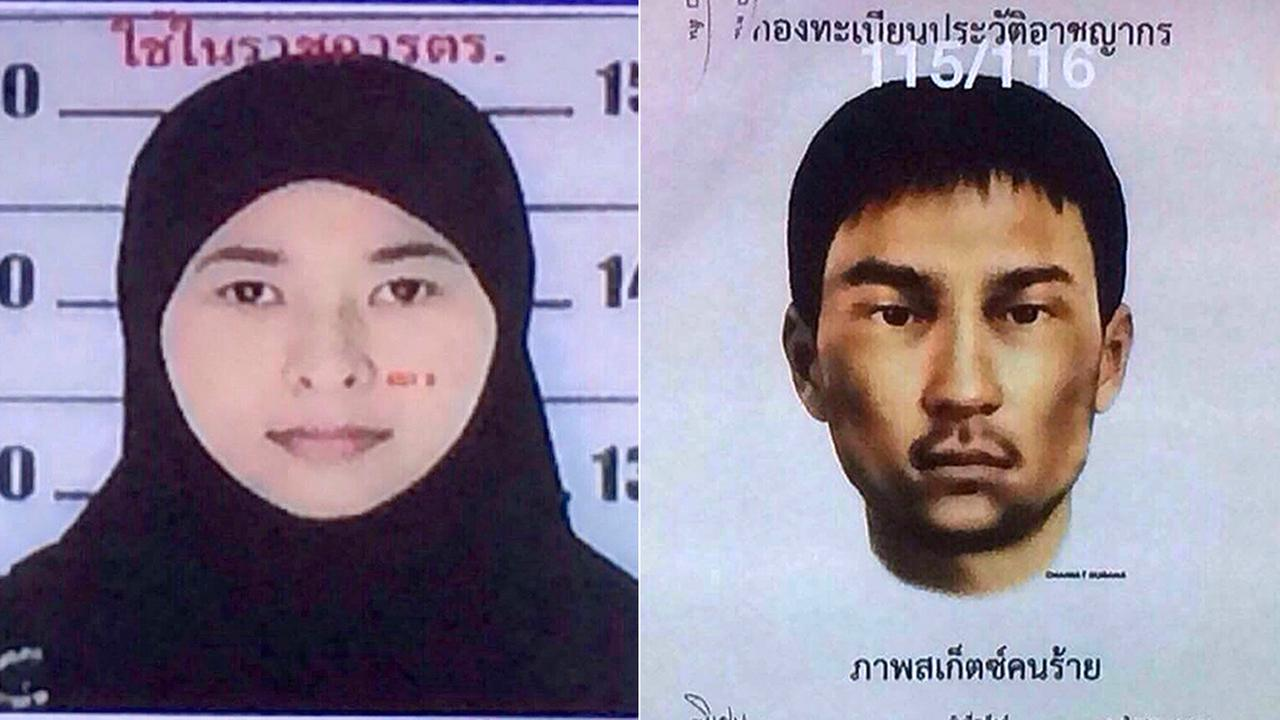 These images released Monday, Aug. 31, 2015, show Wanna Suansun (left) and an unidentified man (right), suspects in the Aug. 17 Bangkok bombing.