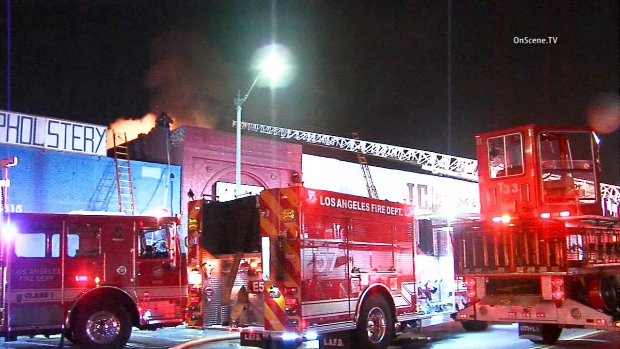 A medical marijuana dispensary in South Los Angeles went up in flames following reports of an explosion at the building on Tuesday, Sept. 1, 2015.