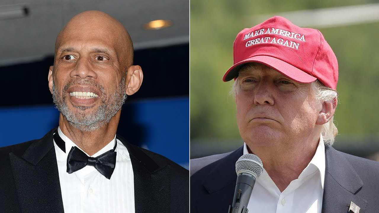 Kareem Abdul Jabbar and Donald Trump are shown in file photos.