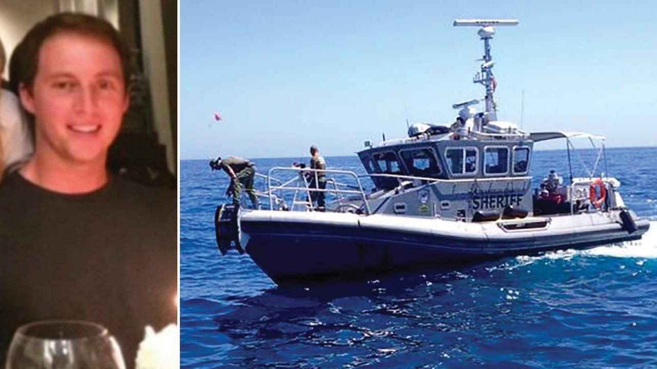 Michael Harris is shown in an undated photo alongside an image of rescuers searching for a missing person following the fatal Catalina Island boat crash on Sunday, Sept. 6, 2015.