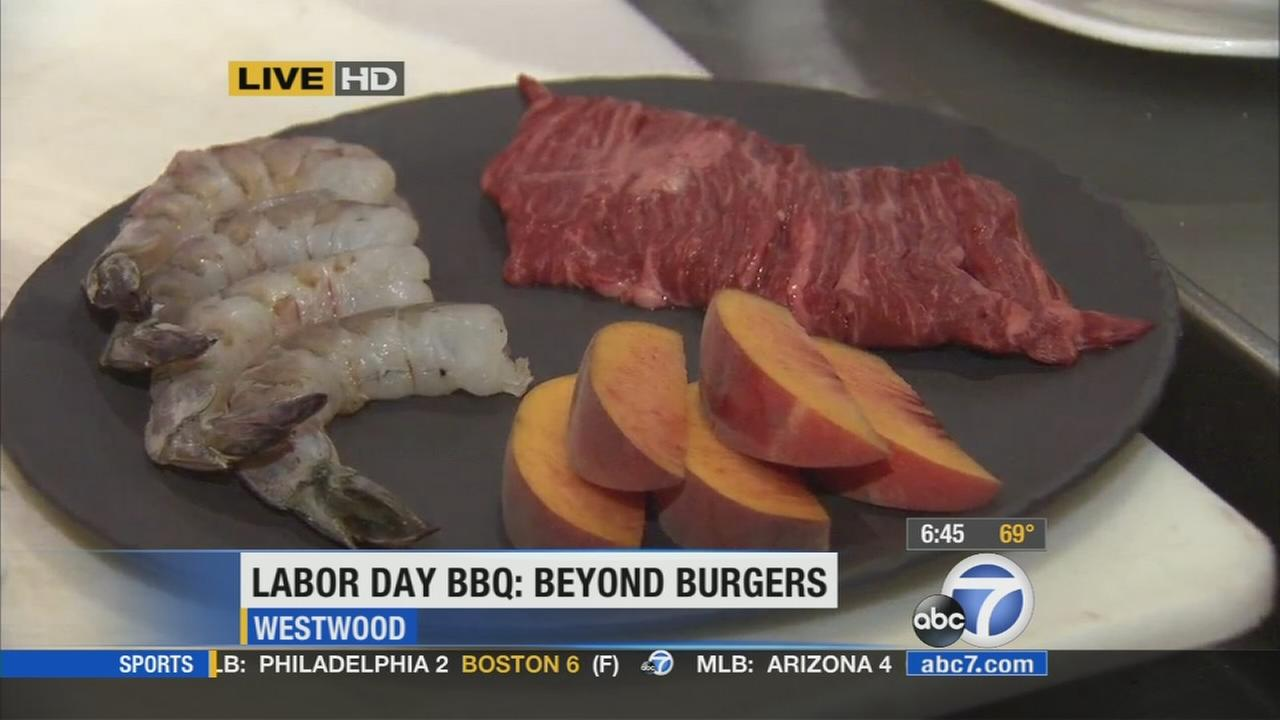 Salt, pepper and California produce go well with surf and turf when getting your grill on for Labor Day parties, Napa Valley Grille chef Andrew Bice says.
