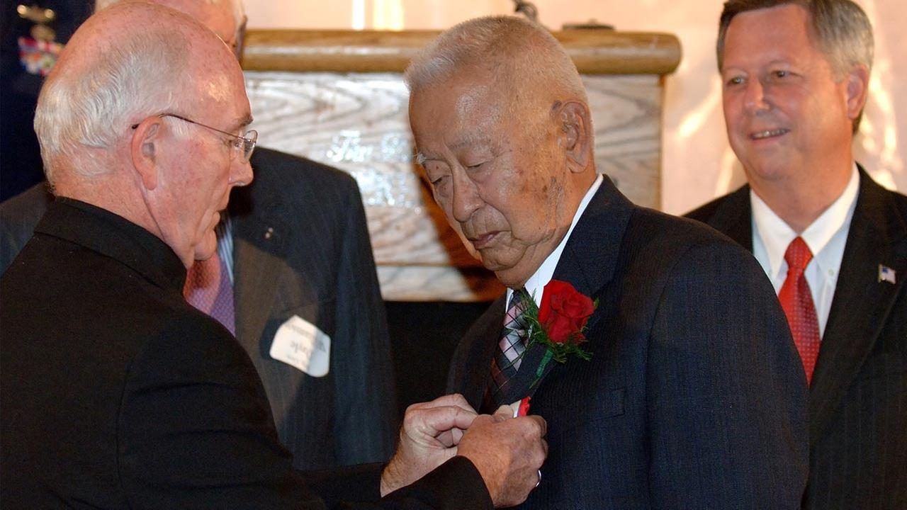 Ben Kuroki is seen receiving the Distinguished Service Medal on Friday, Aug. 12, 2005.