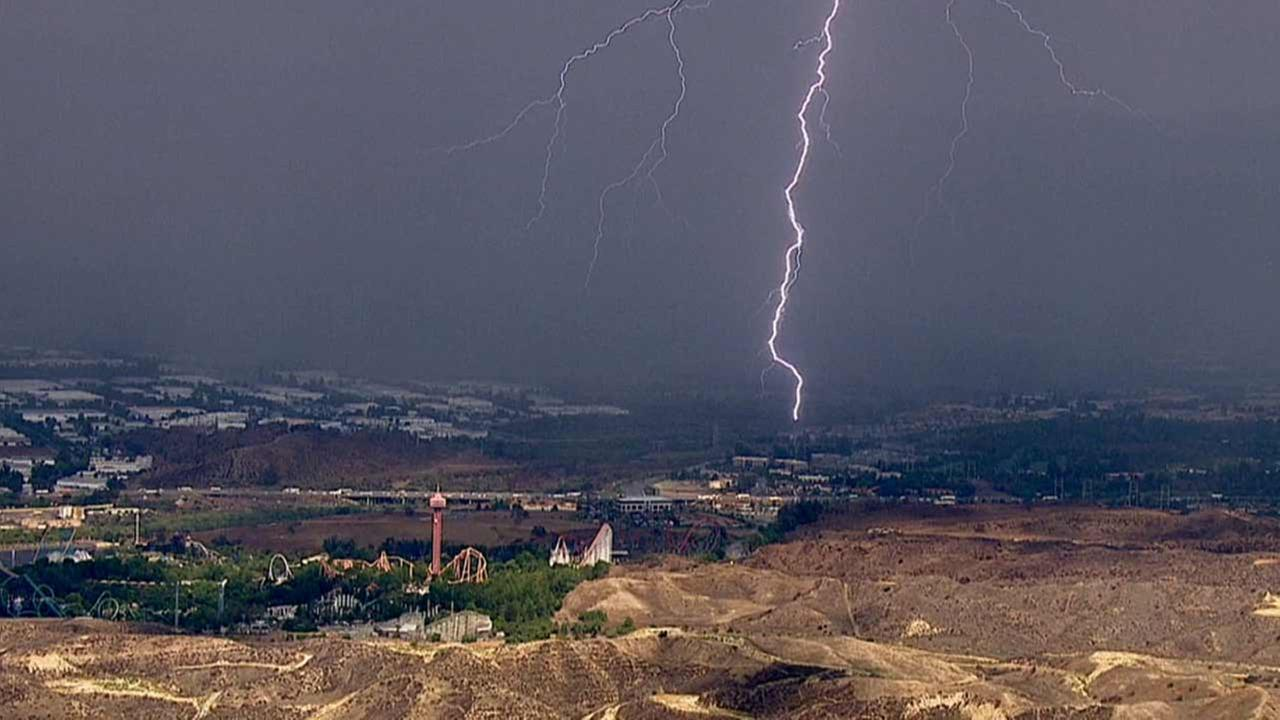 Lightning strikes the Castaic area in Los Angeles County on Wednesday, Sept. 9, 2015.