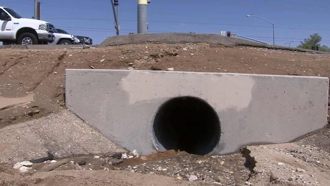 A man survived being sucked into a drainage pipe in Hesperia Tuesday and carried about 200 yards to a nearby mud pond.