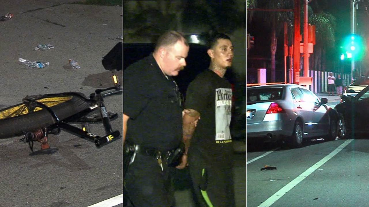 A suspect was arrested in a hit-and-run crash that killed a bicyclist in Arleta on Thursday, Sept. 10, 2015.