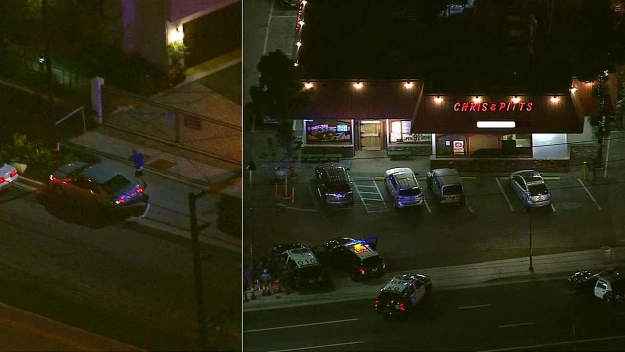 A suspect led authorities on a chase and then barricaded himself inside Chris and Pitts BBQ restaurant in the 9200 block of Lakewood Boulevard in Downey on Thursday, Sept. 10, 2015.