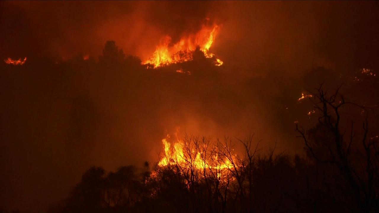 Flames explode as the Butte Fire grows in Calaveras and Amador counties.