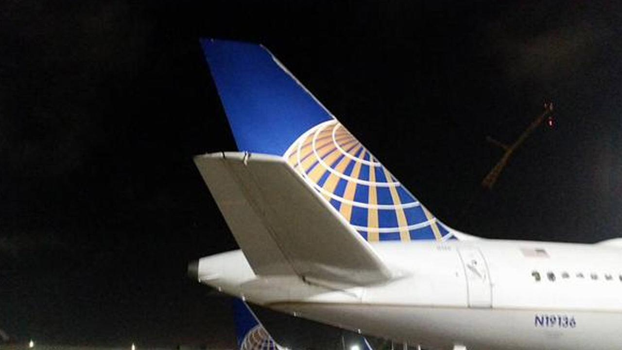 Simon Becerra captured a photo of the damage done to the United Airlines plane after it clipped wings with a departing flight at LAX on Sunday, Sept. 13, 2015.