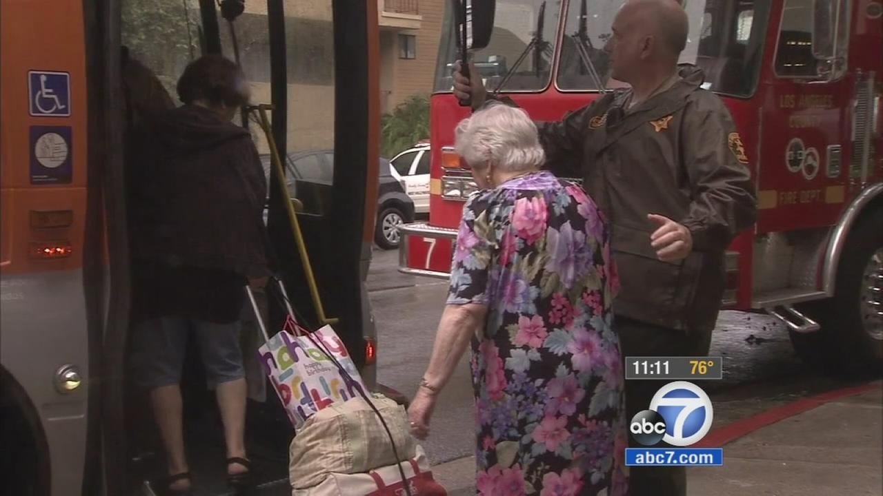 The rain flooded an assisted-living facility in West Hollywood on Tuesday, Sept. 15, 2015 prompting the evacuation of more than 100 elderly residents.