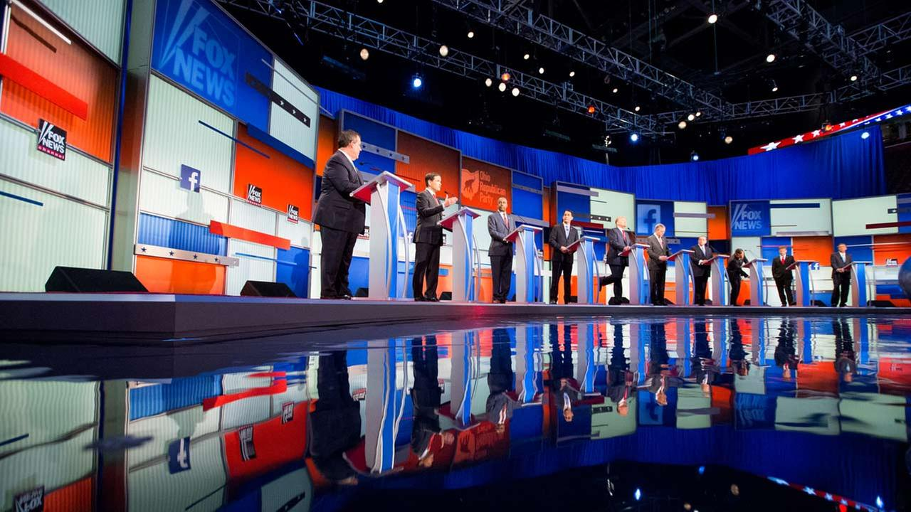 Some of the Republican presidential candidates participate in the first Republican presidential debate at the Quicken Loans Arena, Thursday, Aug. 6, 2015, in Cleveland.