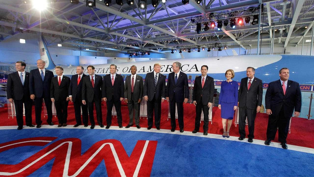 Candidates take the stage during the CNN Republican presidential debate at the Ronald Reagan Presidential Library and Museum on Wednesday, Sept. 16, 2015, in Simi Valley, Calif.