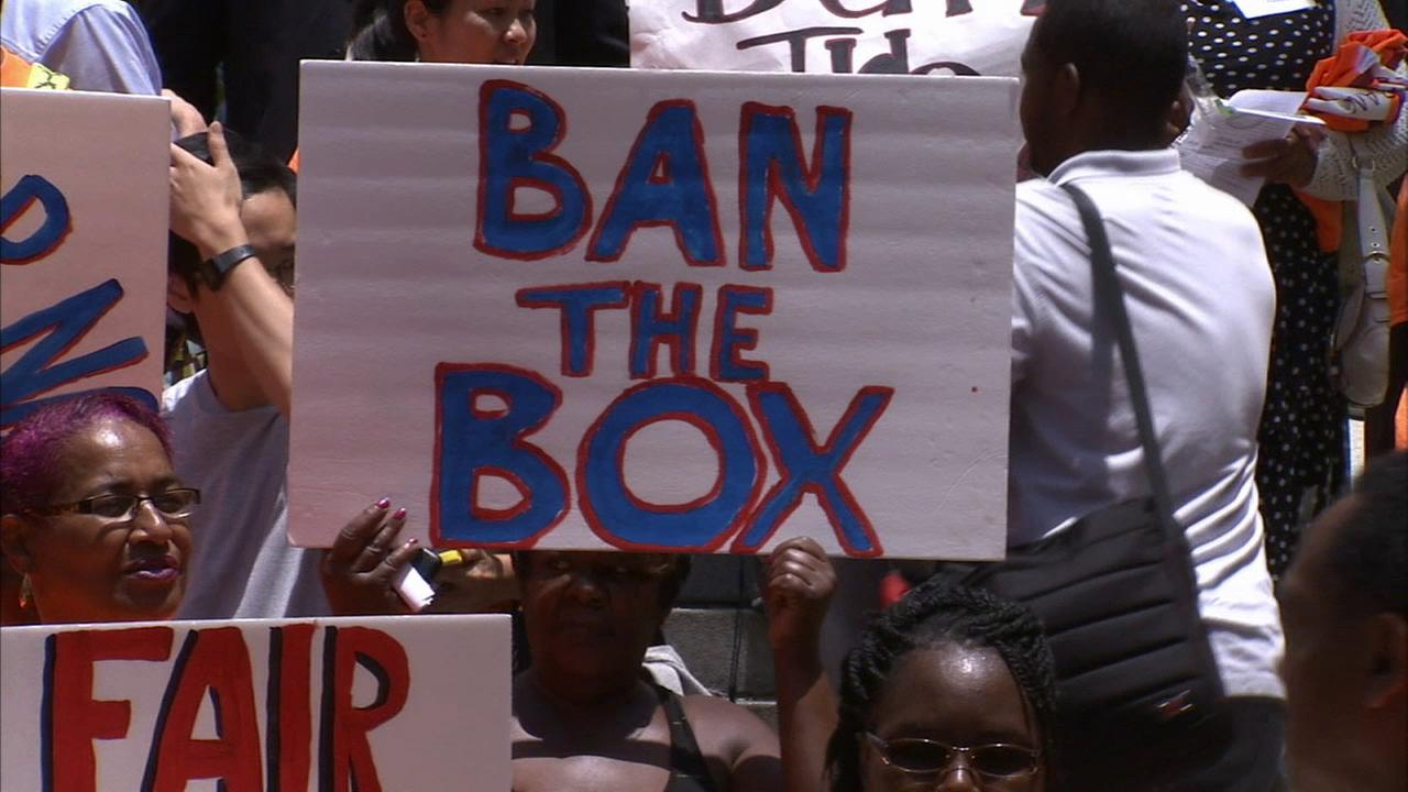 People gathered at Los Angeles City Hall to show support for a bill that would remove the box on job applications that asks applicants if theyve committed a felony.