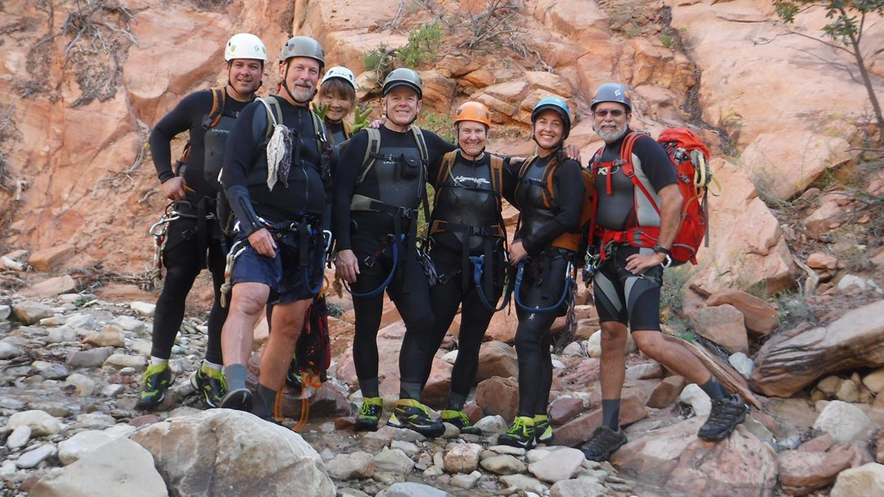 Self-portrait of the group standing before the first rappel of Keyhole Canyon on Monday, September 14, 2015.