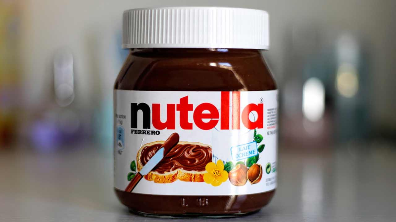 A jar of Nutella is seen in this photo.
