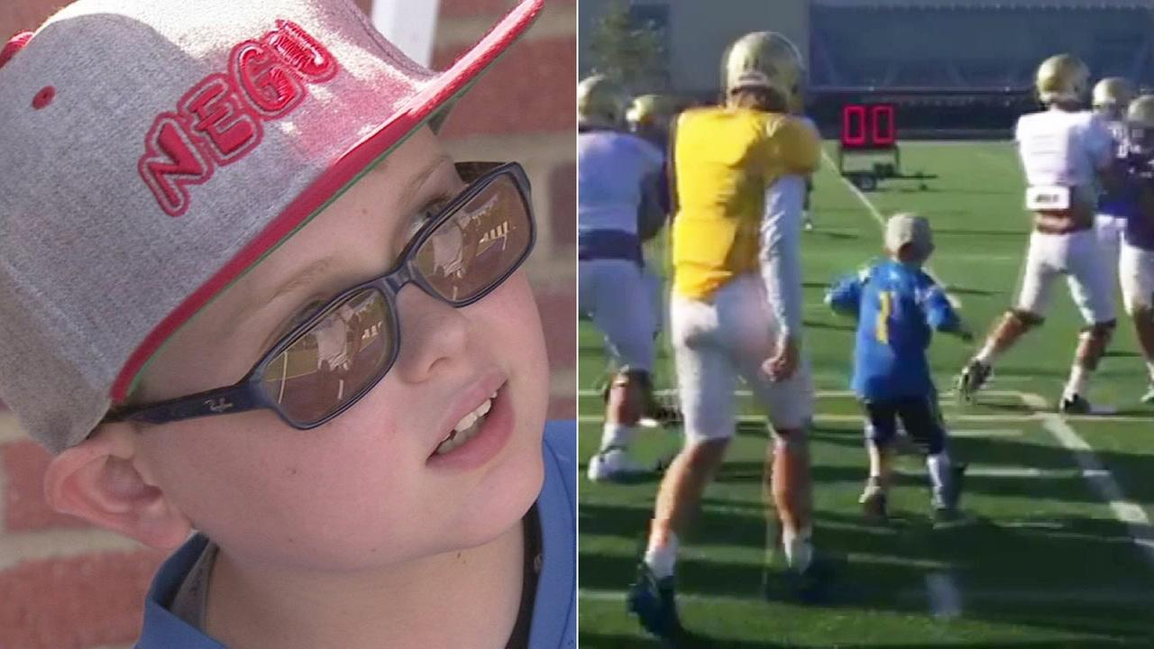 Cade Spinello, 9, joined the UCLA Bruins for football practice on Wednesday, Sept. 23, 2015.