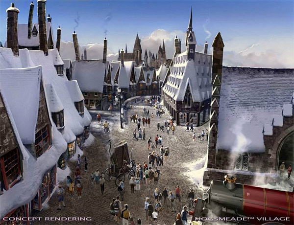 <div class='meta'><div class='origin-logo' data-origin='none'></div><span class='caption-text' data-credit='Universal Studios Hollywood'>An artist rendering shows Hogsmeade village at 'The Wizarding World of Harry Potter,' slated to open in spring 2016 at Universal Studios Hollywood.</span></div>