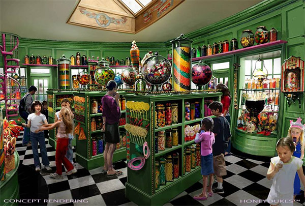 <div class='meta'><div class='origin-logo' data-origin='none'></div><span class='caption-text' data-credit='Universal Studios Hollywood'>An artist rendering shows the Honeydukes store at 'The Wizarding World of Harry Potter,' slated to open in spring 2016 at Universal Studios Hollywood.</span></div>
