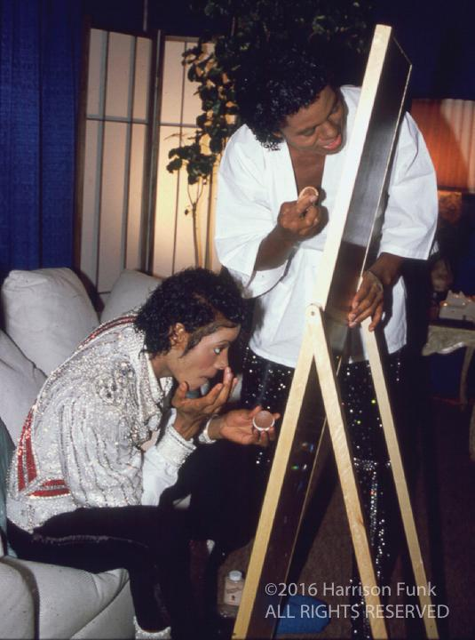 <div class='meta'><div class='origin-logo' data-origin='none'></div><span class='caption-text' data-credit='Harrison Funk/ALL RIGHTS RESERVED'>Michael and Jermaine Jackson apply their makeup before a Victory Tour performance.</span></div>