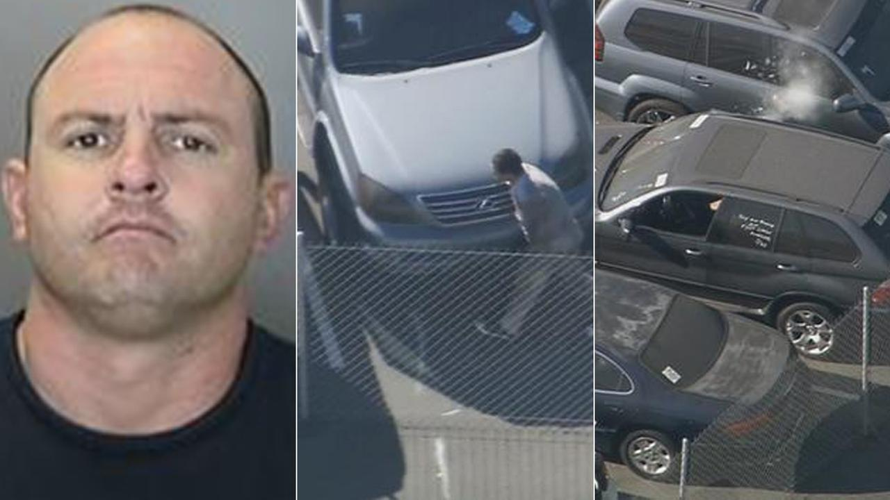 Suspect Paul Marval III is seen in a booking photo (L); A suspect briefly exits SUV hes hiding inside in Anaheim (C); SUVs passenger window later blown out by pepper-ball (R).