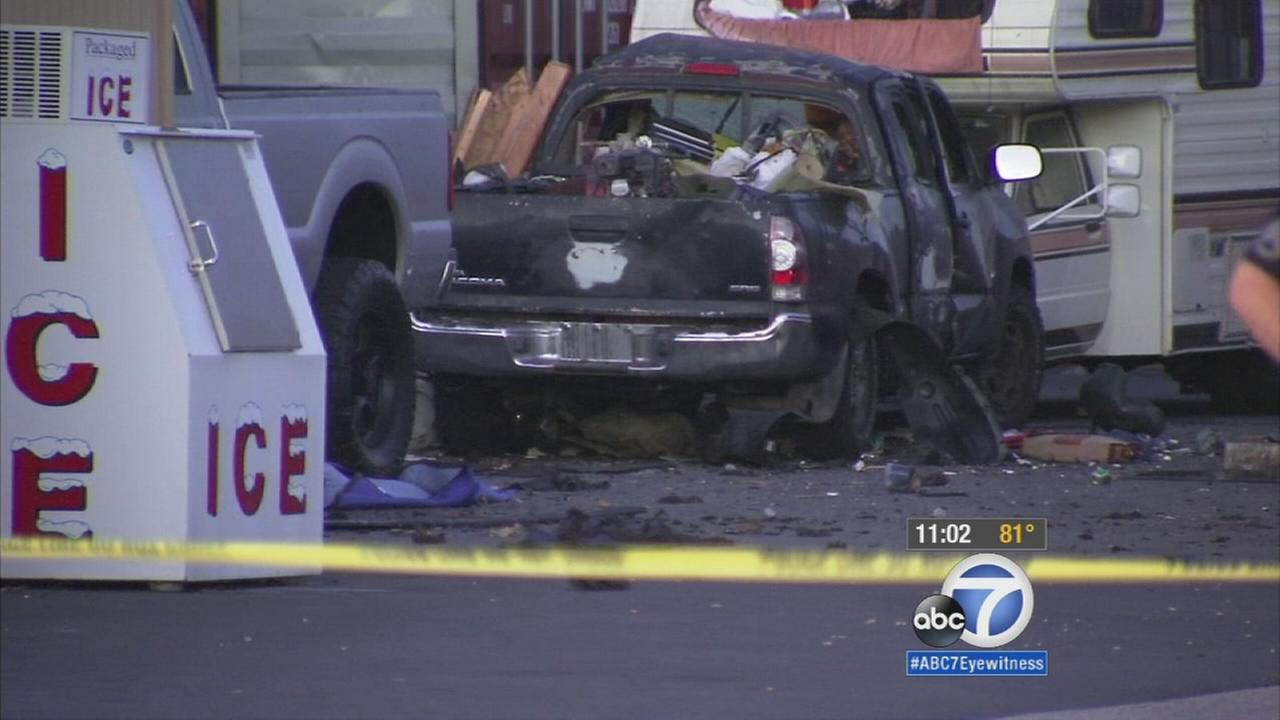 A massive explosion in Huntington Beach left a woman critically injured Wednesday morning.