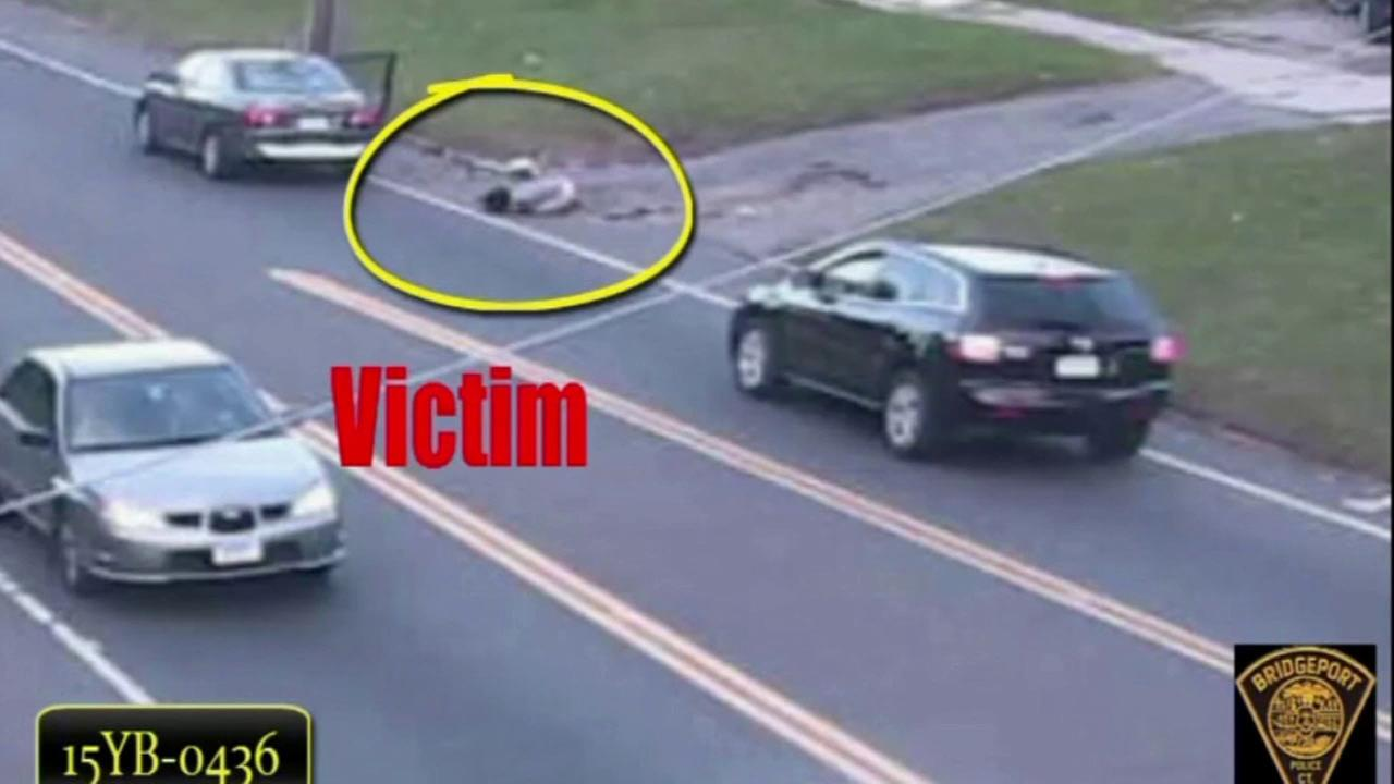 Bridgeport police released footage of an alleged kidnapping victim jumping from a moving car in Connecticut.