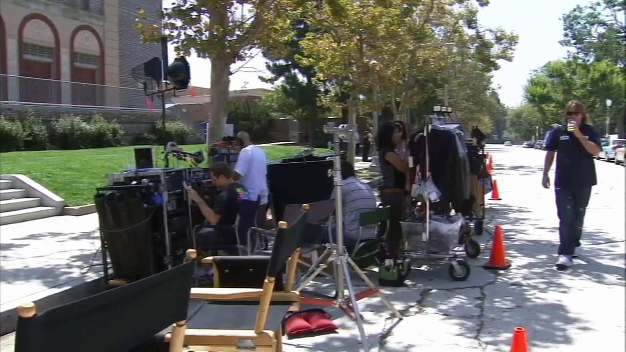 This undated image shows a production crew filming at a Los Angeles area location.