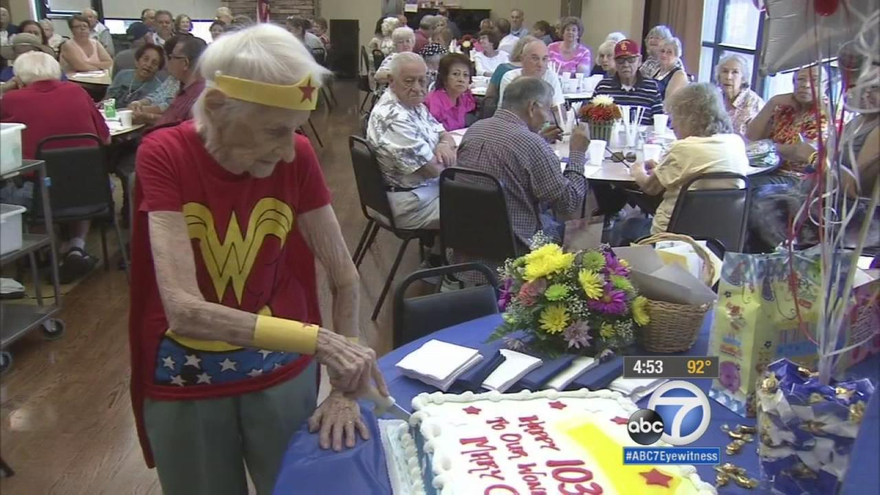 A 103-year-old woman celebrated her 103rd birthday on Monday, but shes not one to sit by and mark the occasion.