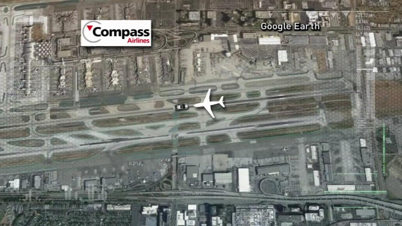 An image shows a near miss at LAX, where an airport vehicle mistakenly turned onto the runway and almost drove into an airplane full of passengers on Tuesday, Oct. 13, 2015.