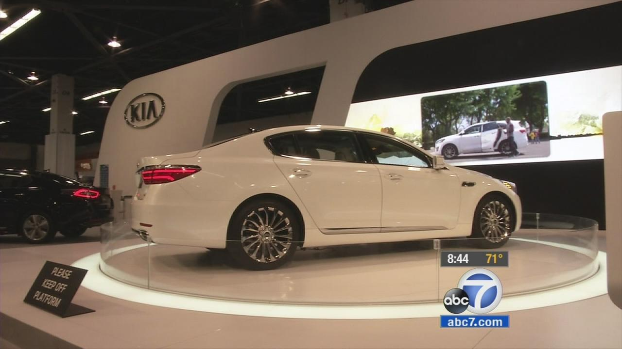 A 2016 Kia Optima is seen at the Orange County International Auto Show.
