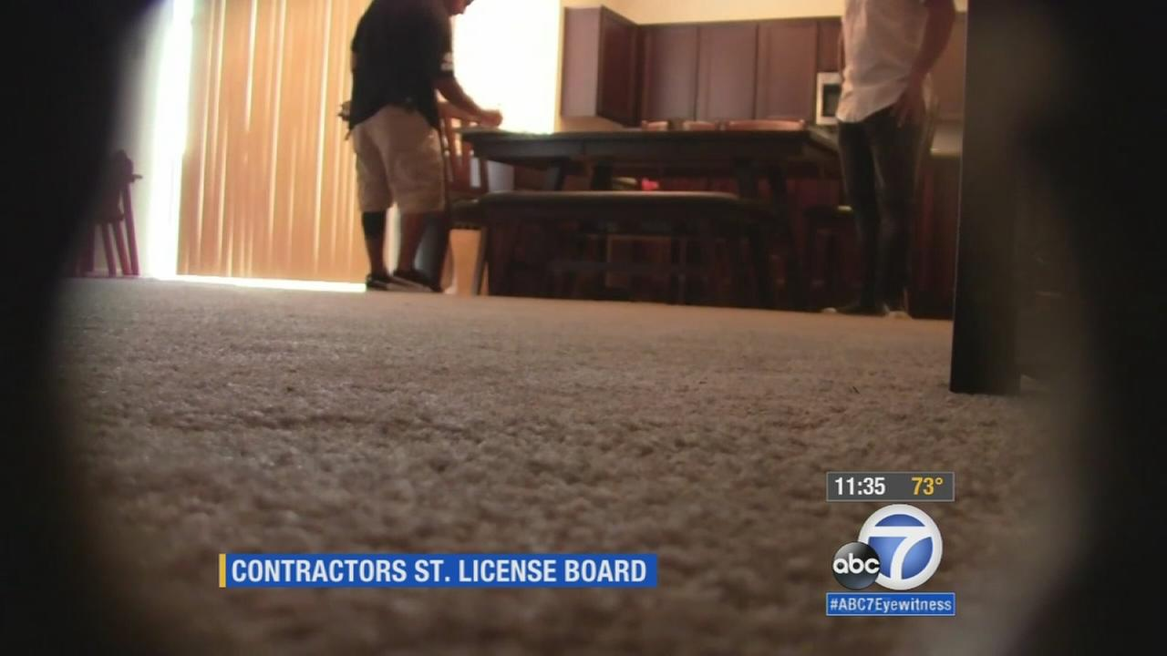 An image from a hidden camera by the California Contractors State Licensing Board is seen in this still photo.