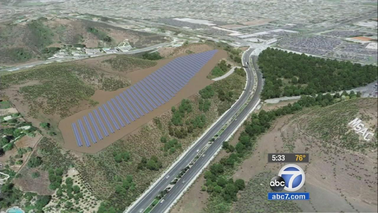 An undated rendering of a proposed solar farm near Mount San Antonio College in Walnut