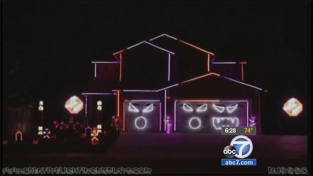 A home in Riverside is known for its Halloween lights display.