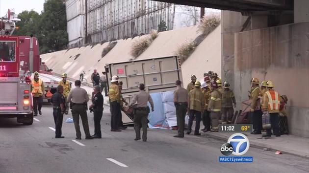 Bicyclist killed after cargo container slides off flatbed truck, falls on him in Long Beach
