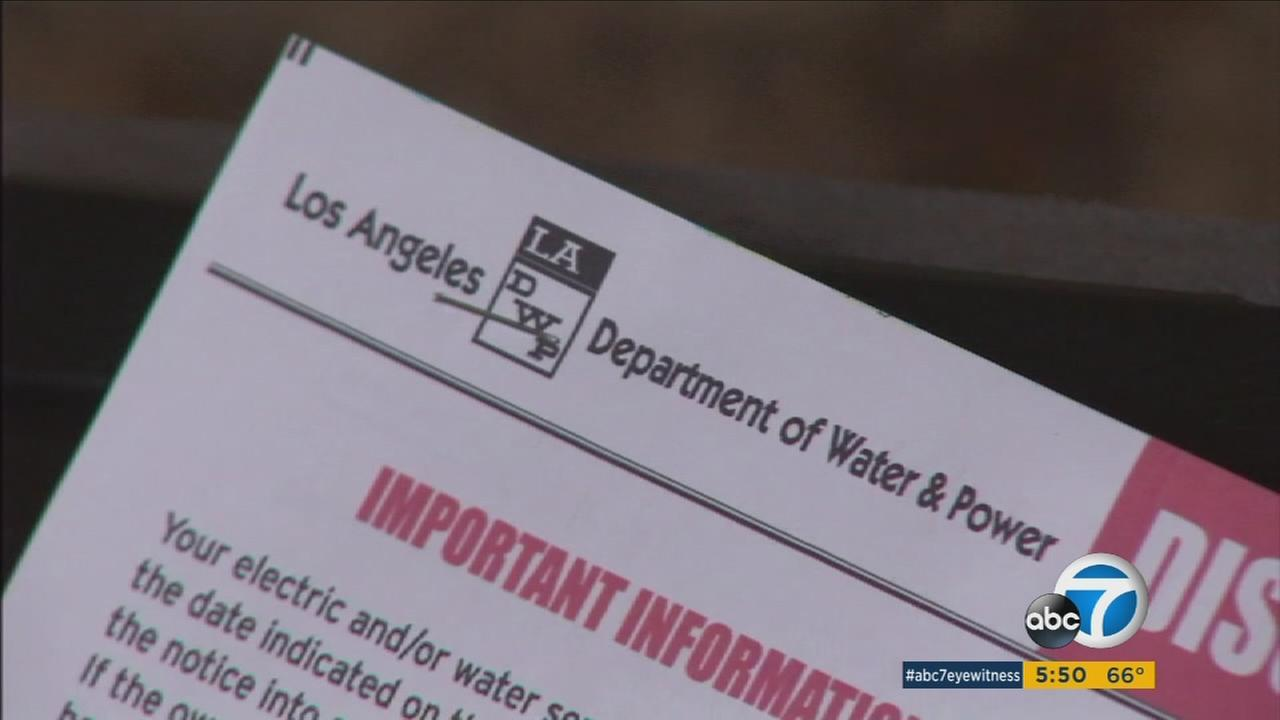 A bill from the Los Angeles Department of Water and Power is shown above.