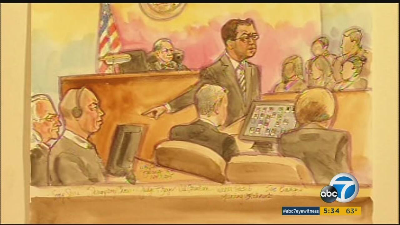 Court sketches show the beginning of the trial for Raymond Shrimp Boy Chow in San Francisco.