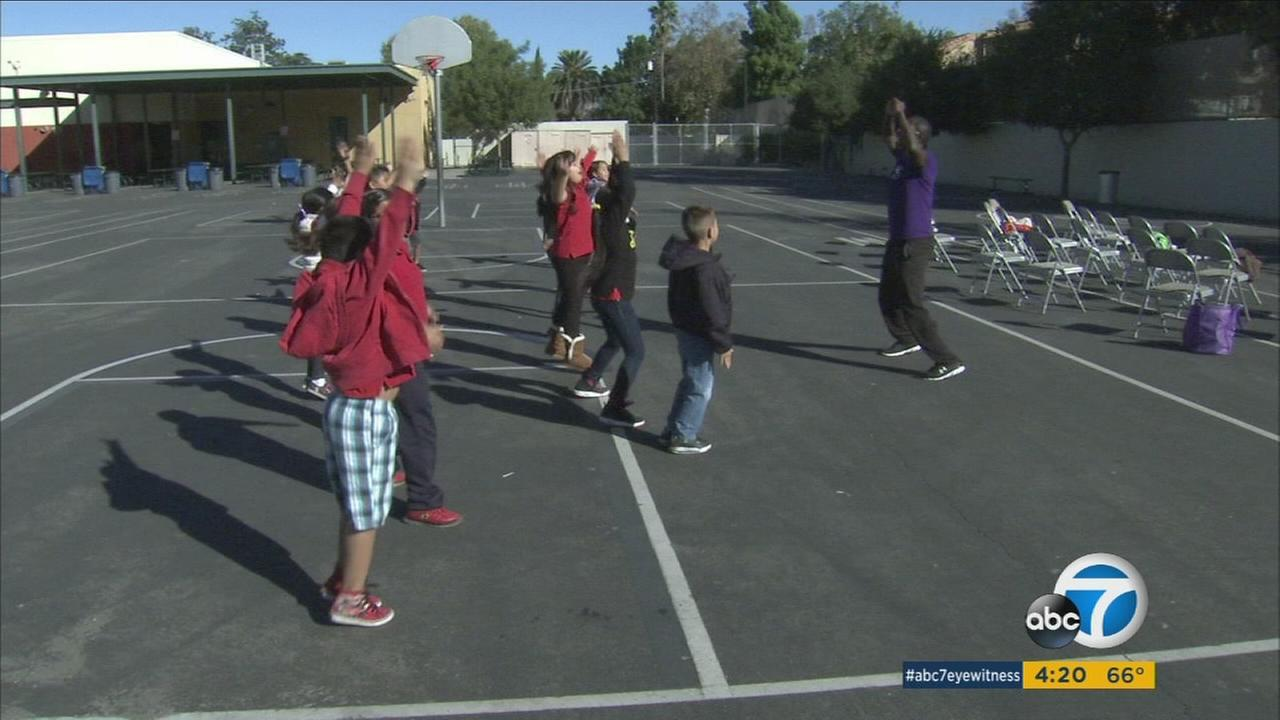 Trainer Rufus Dorsey teaches students at Cardenas Elementary in Van Nuys about diabetes.