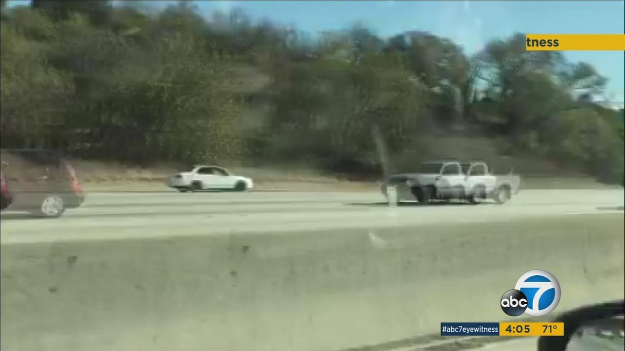 Suspected armed robbers led a police chase the wrong direction on the 57 Freeway on Thursday, Nov. 12, 2015.