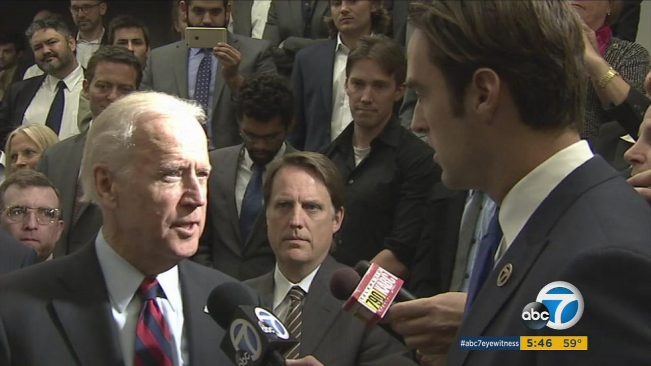 Vice President Joe Biden discusses recent Paris attacks with ABC7 Eyewitness News reporter Elex Michaelson on Monday, Nov. 16, 2015.