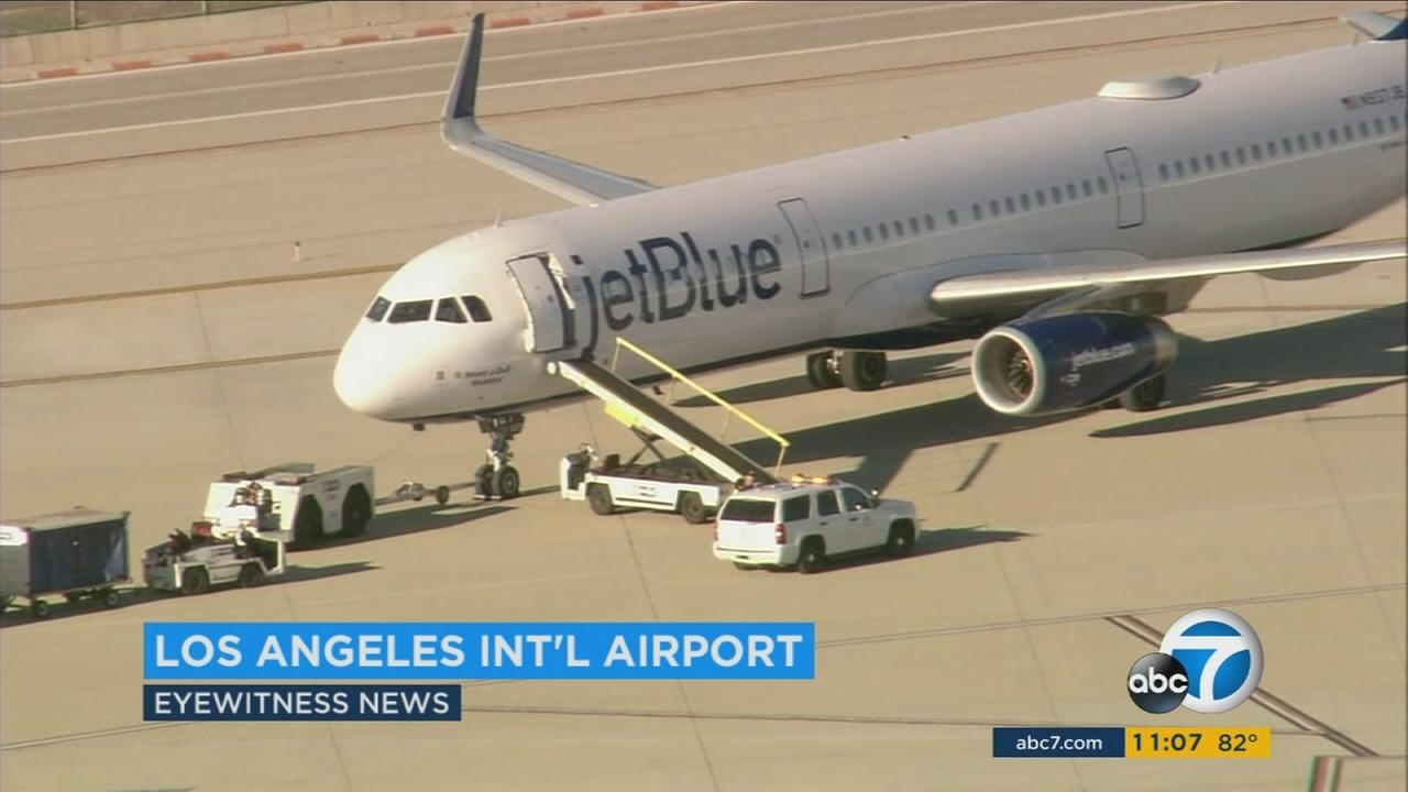 A pilot who was spotted on a jet bridge to a vacant JetBlue plane was likely to blame for a safety alert at Los Angeles International Airport on Thursday, police said.